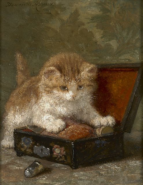 Henriette Ronner-Knip | The sewing box, oil on panel, 24.0 x 18.9 cm, signed u.l.