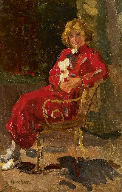 Israels I.L.  | Lady in a red dress, oil on canvas, 80.2 x 52.0 cm, signed l.l.