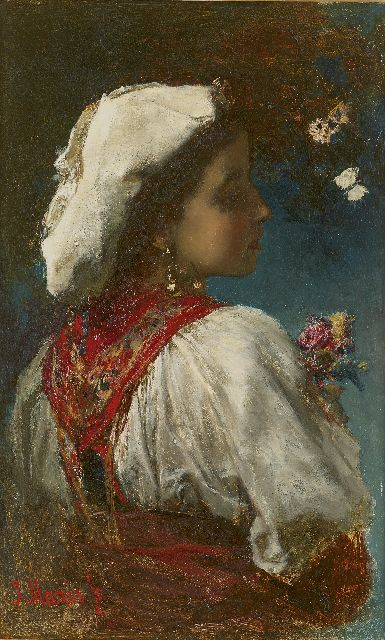 Jacob Maris | Italienne with flowers and butterflies, oil on panel, 33.0 x 20.9 cm, signed l.l. and painted circa 1866-1868