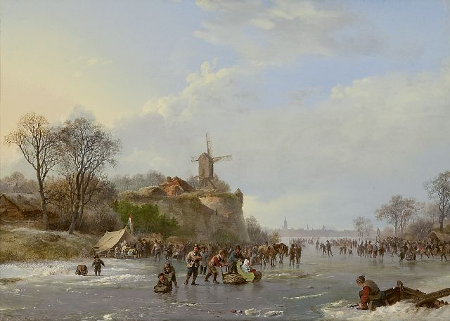 Barend Cornelis Koekkoek | Winter landscape with skaters and a 'koek-en-zopie', oil on panel, 31.4 x 43.9 cm, signed l.r. and dated 1827