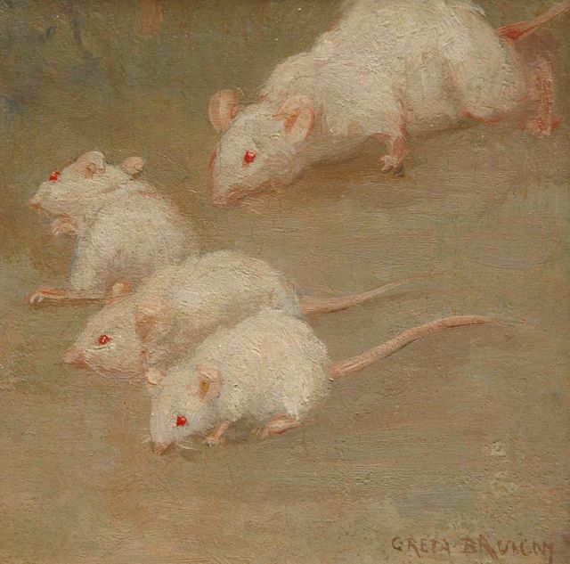 Greta Bruigom | Little white mice, oil on panel, 13.1 x 12.9 cm, signed l.r.