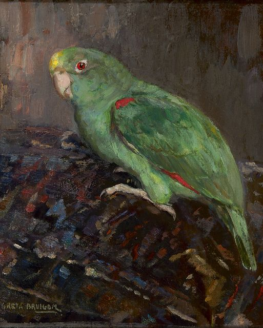 Greta Bruigom | Green parrot, oil on canvas, 33.0 x 27.5 cm, signed l.l.
