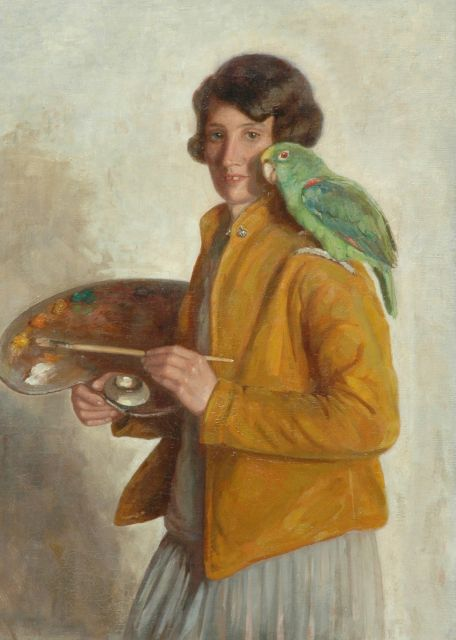Greta Bruigom | Selfportrait with a green parrot, oil on canvas, 90.3 x 66.4 cm