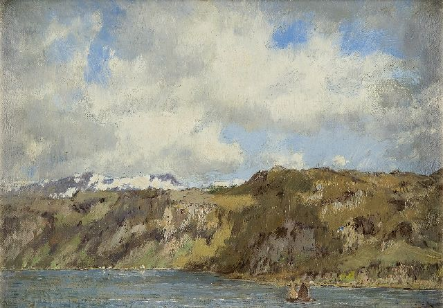 Arnold Marc Gorter | Sailing boats in a fjord, Norway, oil on canvas, 25.0 x 35.0 cm, signed l.r. and painted circa 1922