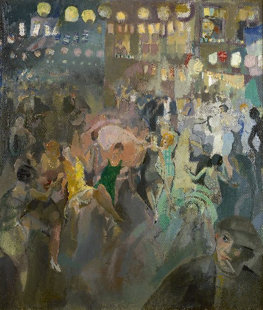 Leo Bervoets | Festivities in the Nationalestraat, Antwerp, oil on canvas, 82.2 x 70.0 cm, signed l.r.
