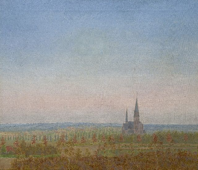 Jakob Nieweg | A view of Amersfoort with the St. Ansfridus church, oil on canvas, 60.5 x 70.8 cm, signed l.l. with monogram and painted 1920