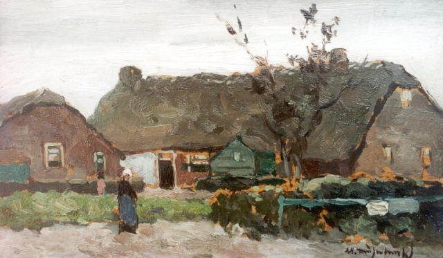Jan Hendrik Weissenbruch | A peasant woman on a yard, oil on panel, 13.6 x 23.0 cm, signed l.r.