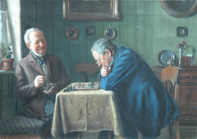 Max Barascudts | A game of chess, oil on canvas, 35.5 x 50.0 cm, signed l.r.