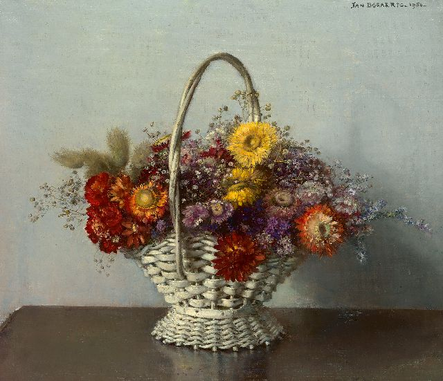 Jan Bogaerts | Bouquet of dried flowers in a basket, oil on canvas, 35.0 x 40.0 cm, signed l.r. and dated 1950