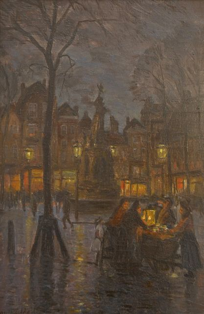 Marius Richters | The Nieuwe Markt in Rotterdam, by night, oil on panel, 32.5 x 21.4 cm, signed l.l. and painted between 1910-1915