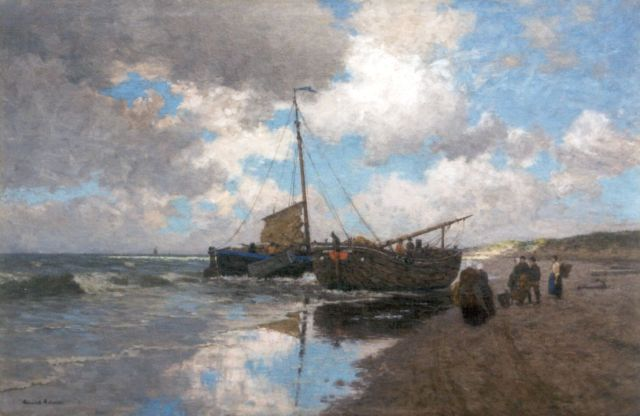 Heinrich Heimes | After the catch, Egmond aan zee, oil on canvas, 111.6 x 169.2 cm, signed l.l.