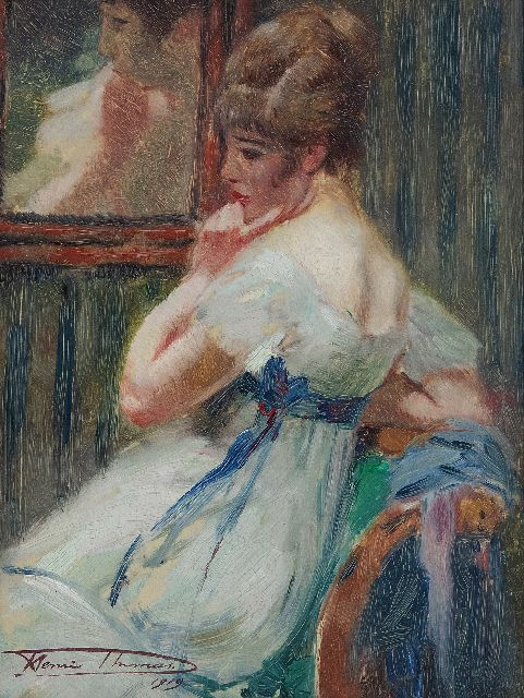 Henri Thomas | In a pensive mood, oil on panel, 22.7 x 17.2 cm, signed l.l. and painted 1919