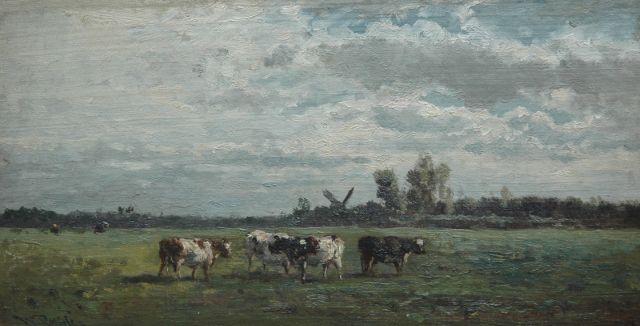Roelofs W.  | Meadow near Abcoude, oil on canvas laid down on panel, 21.3 x 40.5 cm, signed l.l.
