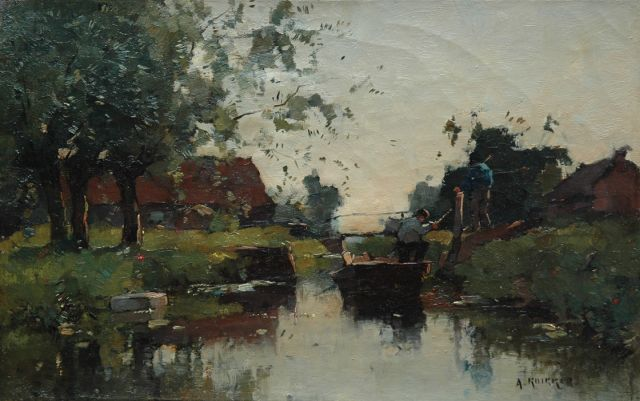 Aris Knikker | Farmers on a boat in polder landscape, oil on canvas, 23.3 x 36.5 cm, signed l.r.