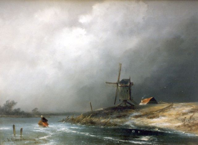 Johannes Franciscus Hoppenbrouwers | A skater on a frozen waterway, oil on panel, 23.0 x 31.2 cm, signed l.l.