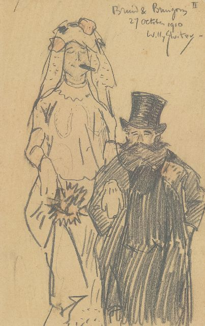Sluiter J.W.  | Bride and groom, pencil on paper 19.5 x 12.5 cm, signed u.r. and dated 27 october 1910