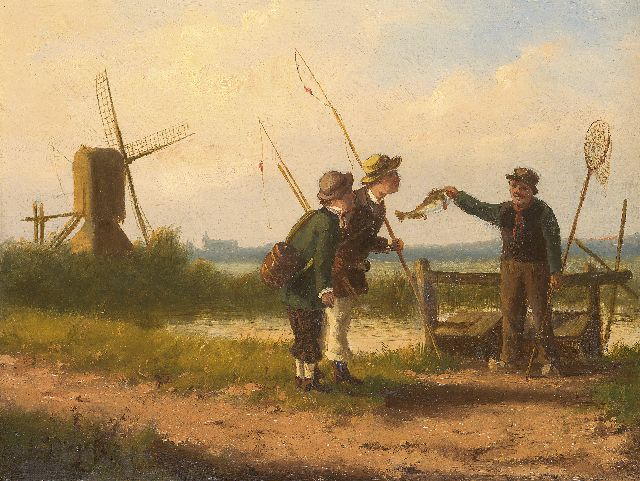 Louwerencius Plas | With the silver fishing rod, oil on panel, 20.2 x 26.4 cm, signed l.l. and dated '87