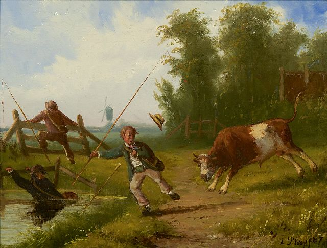 Louwerencius Plas | Fishing for fun, oil on panel, 20.4 x 26.6 cm, signed l.r. and dated '87