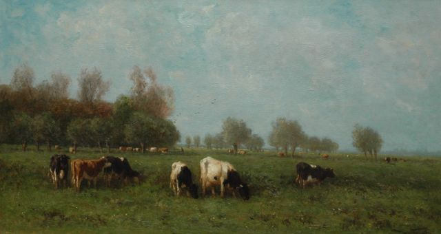 Jan Vrolijk | Cows in a meadow, oil on canvas, 54.3 x 100.2 cm, signed l.r.