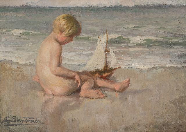 Lentrein J.  | Girl playing on the beach, oil on panel 25.0 x 35.0 cm, signed l.l.