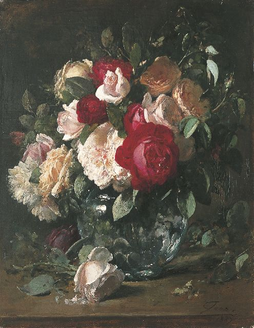 Eugeen Joors | Roses, oil on canvas, 45.5 x 35.6 cm, signed l.r. and dated 1887