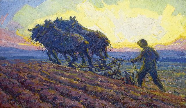 Adriaan Herman Gouwe | Ploughing horses at dawn, oil on canvas, 48.8 x 82.0 cm, signed l.l. and executed ca. 1916-1918