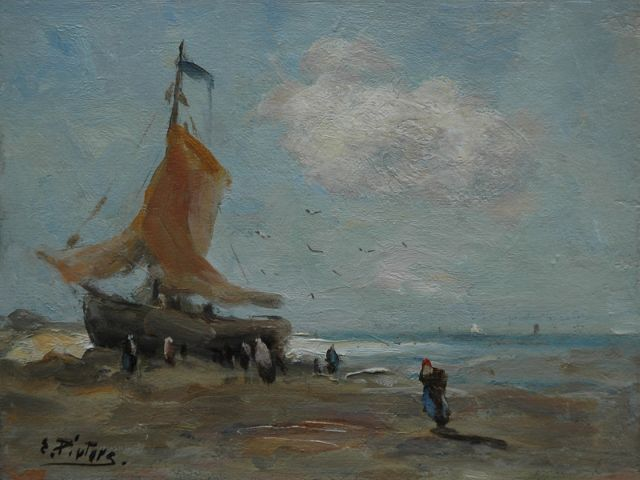 Evert Pieters | At lowtide, oil on painter's board, 19.1 x 25.3 cm, signed l.l.