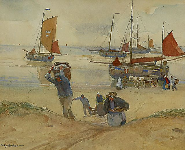 Sluiter J.W.  | After the fish auction on the beach of Katwijk, watercolour and gouache on paper 62.0 x 74.1 cm, signed l.l.
