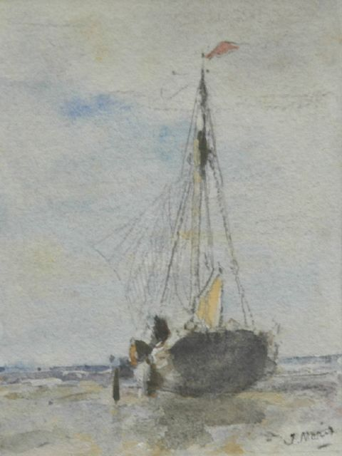 Jacob Maris | A menu with a watercolour of a barge on the beach, watercolour on paper, 11.5 x 8.5 cm, signed l.r. and dated 4 mei 1895 reverse
