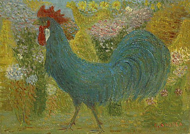 Andréa C.  | Blue rooster, oil on canvas 18.1 x 24.2 cm, signed l.r. and on the reverse and dated 1943 on the reverse