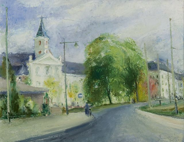 Jaap Nanninga | The Boskant church, The Hague, oil on canvas, 42.3 x 54.6 cm, signed l.r. and dated '44