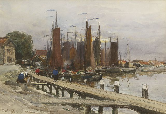Charles Paul Gruppe | The harbour of Volendam, watercolour and gouache on paper, 34.3 x 49.9 cm, signed l.l.