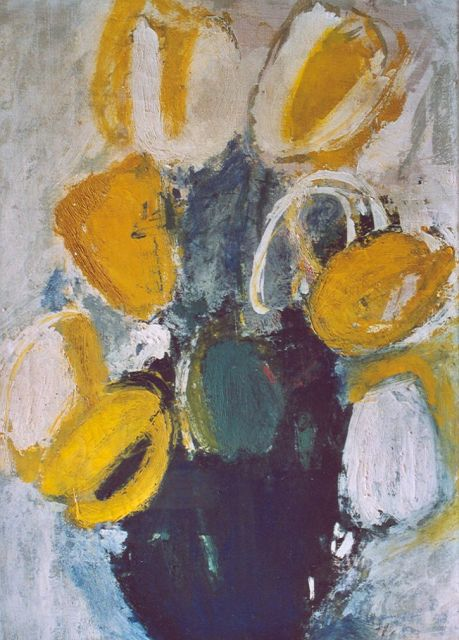 Jaap Nanninga | Vase with tulips, oil on canvas, 50.2 x 35.0 cm, signed l.r. (vague)