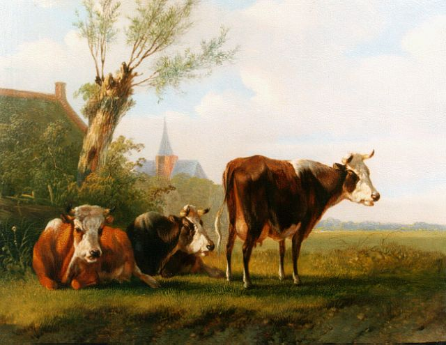 Albertus Verhoesen | Cows in a summer landscape, oil on panel, 18.7 x 23.0 cm, signed l.r.