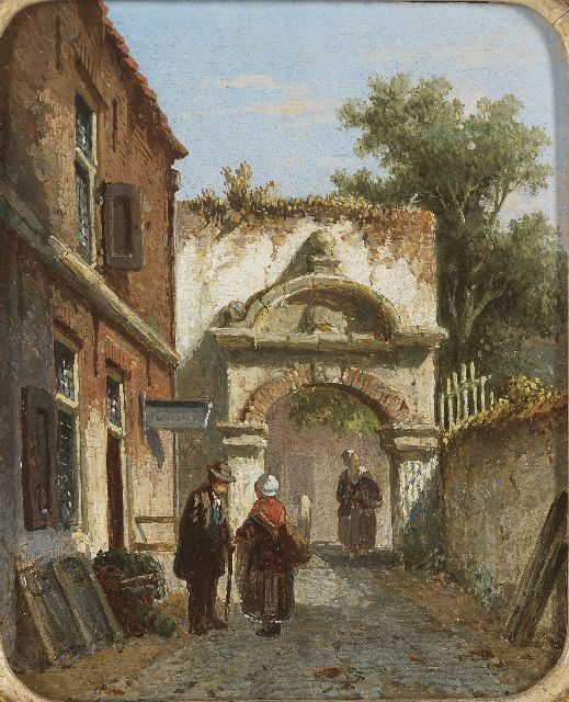 Adrianus Eversen | Figures near a town-gate, oil on panel, 13.8 x 11.3 cm, signed l.r. with monogram