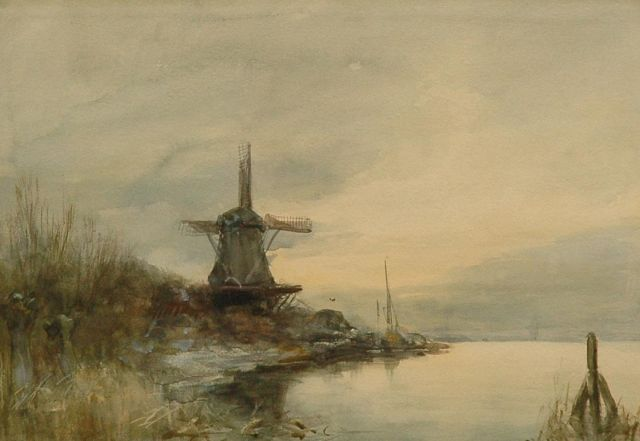 Louis Apol | A windmill by the water, watercolour on paper, 24.6 x 34.7 cm, signed l.r.