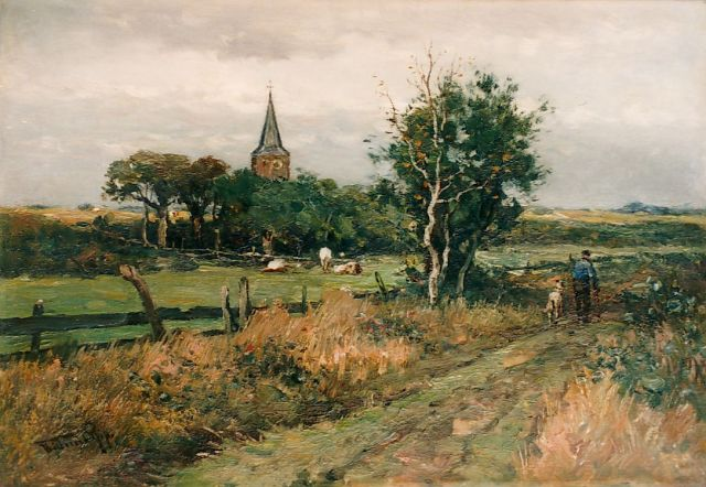 Willem Rip | Old church tower, Vierlingsbeek, oil on canvas, 48.5 x 71.5 cm, signed l.l.