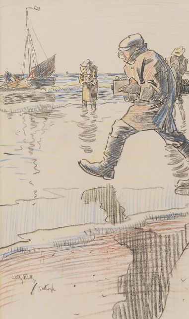 Sluiter J.W.  | Photographers on the beach of Katwijk, chalk on paper 32.7 x 19.7 cm, signed l.l.