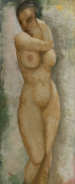 Toon Kelder | Standing female nude, oil on canvas, 70.3 x 30.5 cm, signed l.l.