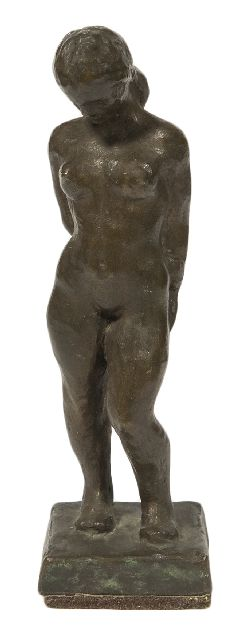 Högbom H.W.  | Woman standing, bronze 18.4 x 5.7 cm, signed on the side of the base