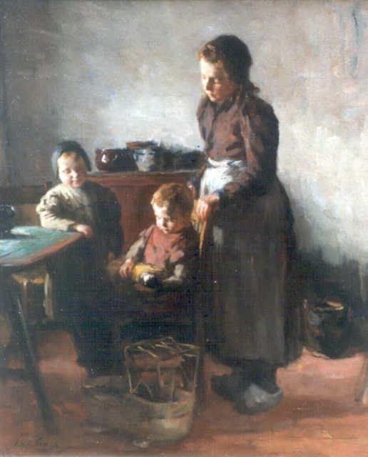 Lammert van der Tonge | Mother and children, oil on canvas, 54.0 x 45.5 cm, signed l.l. and on the reverse