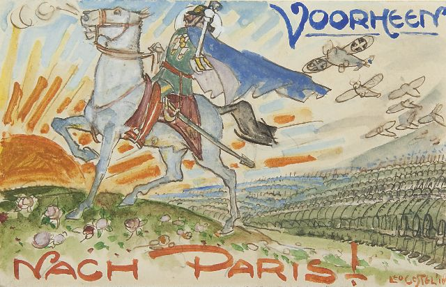 Leo Gestel | Nach Paris: Emperor Wilhelm II on his horse, watercolour on paper, 9.0 x 14.0 cm, signed l.r. and painted in  1918