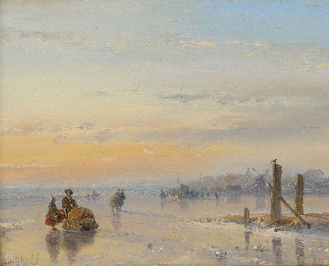 Andreas Schelfhout | Figures with a sledge and skater on a frozen waterway, oil on panel, 11.6 x 14.8 cm, signed l.l. and on the reverse