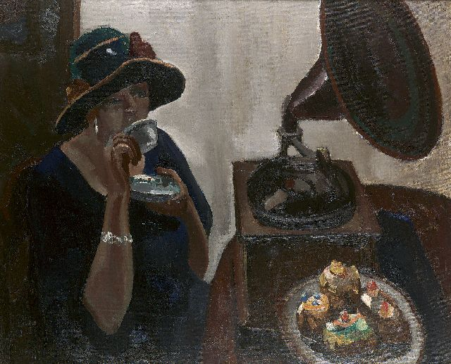 Kelder A.B.  | A lady drinking tea with pastry and a grammophone, oil on canvas 90.4 x 110.4 cm, signed u.r.