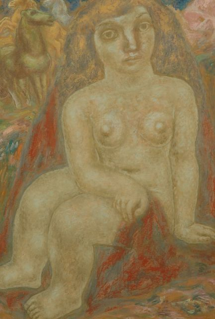 Leo Gestel | Seated nude with horses, pastel on paper, 100.7 x 69.2 cm, signed l.r. and painted 1932