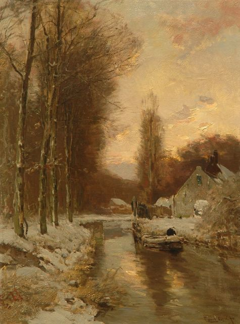 Louis Apol | View of a forest in winter, oil on canvas, 60.5 x 45.1 cm, signed l.r.