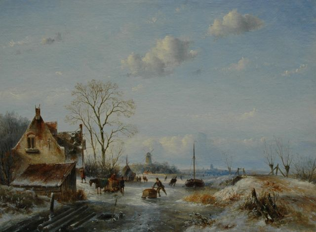 Josephus Gerardus Hans | Winter landscape with skaters, oil on canvas, 53.3 x 71.0 cm, signed l.r.