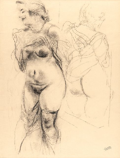 Grosz G.  | Nude with miror image, charcoal on paper 62.0 x 47.0 cm, signed l.r. with stamped signature and to be dated 1939