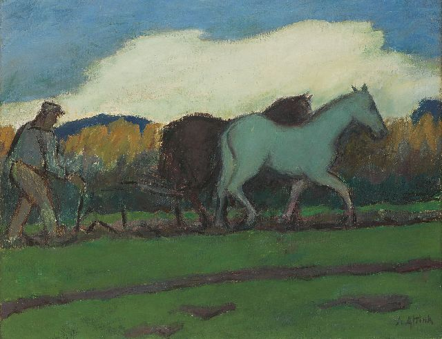 Jan Altink | Ploughing the fields, wax paint on canvas, 55.0 x 70.1 cm, signed l.r. and painted ca. 1924-1928