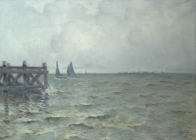 Anthonie Pieter Schotel | Sailing vessels near Marken, oil on canvas, 47.0 x 64.5 cm, signed l.r. and painted '23